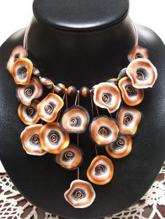 Copper 'n' Black Fungi Choker, made from polymer clay in tones of gold, black, white. by Melody Tallon, aka Artefacts, via Flickr.