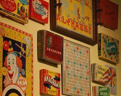 """old game boards as wall art. fantastic. эх, а я столько """"позднесоветских"""" игр повыбрасывал..."""