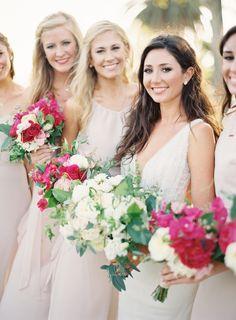 pink bridesmaids bou