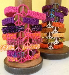 Crocheted Peace Sign Bracelet for PreTeens to by BeachDaisyJewelry, $3.50