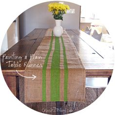 DIY Painted Burlap Table Runner via Cape 27 / with a red stripe, perfect for Thanksgiving and Christmas