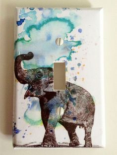 Elephant Decorative Light Switch Cover Plate Great Elephant Baby Nursery Decor Kids Room Decor Art and For Any Elephant Lover