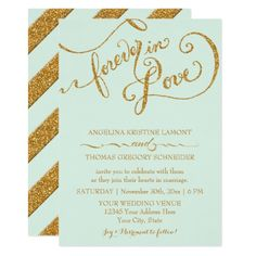 Calligraphy Mint Script Forever Love Gold Glitter Card