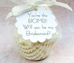 This punny bath bomb bridesmaid proposal gift is too cute! | The Ultimate Guide to Bridesmaid Proposal Ideas | Velvet Moon Studio | Kennedy Blue