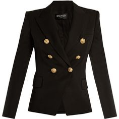 Balmain Double-breasted wool blazer (6.480 RON) ❤ liked on Polyvore featuring outerwear, jackets, blazers, black, balmain, woolen jacket, blazer jacket, double breasted jacket and wool jacket