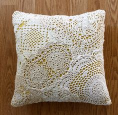 DIY ~ Doily Pillow  http://racheldenbow.blogspot.com/2010/01/doily-pillow-tutorial.html