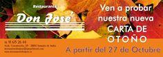 Y a partir de mañana 27 de Octubre puedes disfrutar de nuestra nueva Carta de Otoño. Ven a probarla, ¡¡te sorprenderá!!