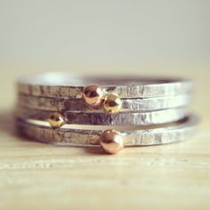 Little balls mix  stacking rustic silver rings with door MyGoldenAge, €45.00