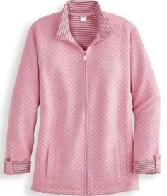 Plus Size Quilted-Look Jacket Womens Size XL - Pink by Blair - Pink