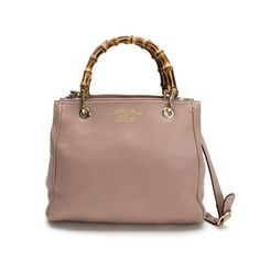 GUCCI Shopper Bamboo Shoulder bags Pink Leather 336032