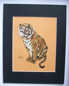 Tiger Print Gladys Emerson Cook Look At Those Teeth Wild Animal Colored Bookplate 1943 11x14 Matted by VintageVaultPrints on Etsy