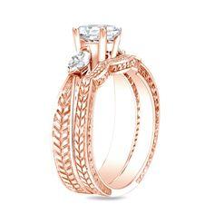 Auriya 14k Rose Gold 4/5ct TDW Certified Diamond Bridal Ring Set (H-I, SI1-SI2)
