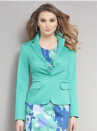 Two Button Banded-Waist Sateen Jacket