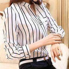 Tienda Online Mujeres Blusa Rayada Coreana Blusa Camisas Mujer de Manga Larga de Gasa Blusas Shirt Mujeres Tops Moda 2017 Blusas Mujer Donne   AliExpress móvil