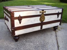 Military footlocker coffee table antique trunks restored for Coffee tables 36 wide