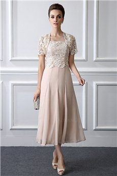 1bbdb9b988 A-Line Princess Square Neck Tea-length Mother of the Bride Dress With
