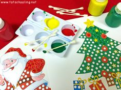 Christmas Q-Tip Painting Printables   Totschooling - Toddler and Preschool Educational Printable Activities