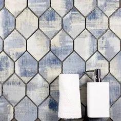 cool patterned tiles - Google Search Tile Patterns, Cool Patterns, Navy Bathroom Decor, Tic Tac Tiles, Home Free, Kitchen Backsplash, Walmart Shopping, Honeycomb, Tile Floor