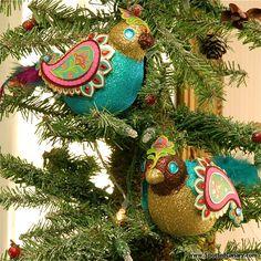Bohemian Glitter Bird Ornaments