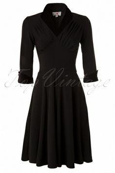 Miss Candyfloss - 1950s Ellenor Black 3/4 sleeve swing dress velvet