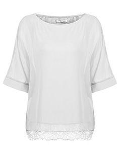 c689e653f66bc5 Parabler Damen Chiffon T-Shirt Kurzarm Batwing Fledermaus Loose Fit Shirt  Tunika Bluse Weiß EU 42/ XL. Damen elegant Oversize Sommerbluse mit ...