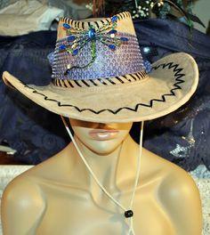 Hat- Leather Suede Hat-Derby Hat-Western Style-Hand Decorated by GinasCornerCrafts, $40.00  http://www.etsy.com/shop/Ginascornercrafts