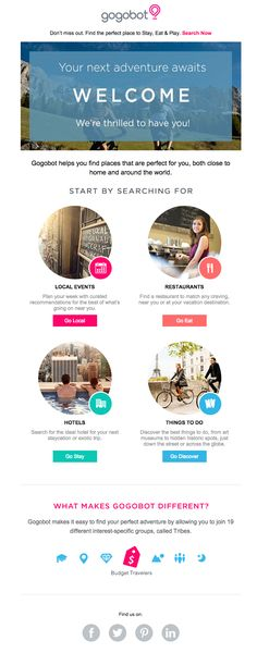 Very nice welcome email from Gogobot. Colorful, visual, simple, and looks great on mobile! More on http://emaildesign.beefree.io/2016/03/design-inspiration-from-travel-newsletters/