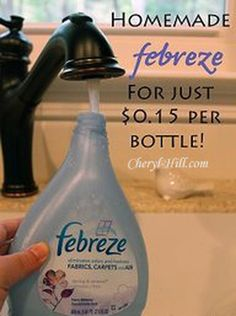 DIY - Make Your Own Fabreeze 1/8 Cup of fabric softener (your favorite) 2 tablespoons baking soda Hot tap water Spray bottle (use an empty 27 oz. Febreeze bottle)  Combine all ingredients in bottle, shake well and use!