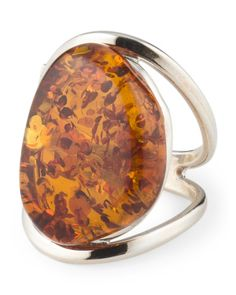 Handmade In Poland Sterling Silver Baltic Amber Ring