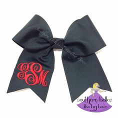 Black Cheer Bow, Monogrammed Cheer Bow, Cheer Bow with Monogram, Personalized Cheer Bow, Ponytail Bow, Cheer Bow with Momogram by BellesLikeBigBows on Etsy https://www.etsy.com/listing/223782603/black-cheer-bow-monogrammed-cheer-bow