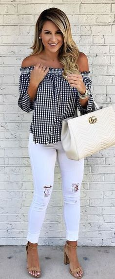 #summer #outfits Gingham Off The Shoulder Top + White Ripped Skinny Jeans + Nude Sandals // Shop this exact outfit in the link
