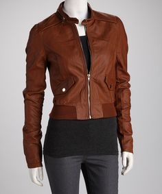 Take a look at this Brown Zip Collar Bomber Jacket on zulily today!