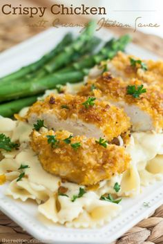 Crispy Chicken with Creamy Italian Sauce at http://therecipecritic.com  This is incredible!  And the Creamy Italian Sauce is perfection!  So yummy!