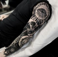 Blackwork sleeve by Darkside