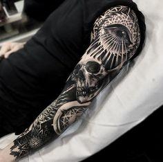 Blackwork sleeve by Darkside