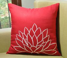 White Lotus Throw Pillow Cover,Decorative Pillow Cover, Red Linen White Flower Embroidery, Throw Pillow Cover 18 x 18, Red Cushion Cover