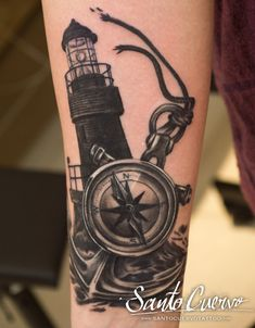 Compass, Anchor & Lighthouse Tattoo by Alex Alvarado. Vegan friendly tattoo and piercing studio in Hackney, North London. Specialised in modern tattoos, such as watercolour, realism and geometry.