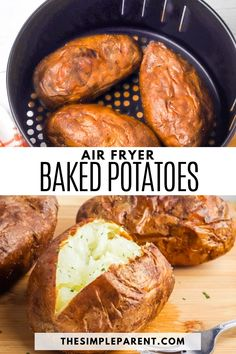 Make the easiest baked potatoes with this air fryer recipe. Healthier side dishes pair great with chicken, steak, and more! Baked Potato Toppings, Easy Baked Potato, Air Fryer Baked Potato, Baked Potato Recipes, Baked Potatoes, Easy Vegetable Side Dishes, Healthy Side Dishes, Healthy Eating Recipes, Side Dish Recipes