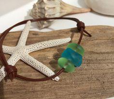 Sea glass bracelet ~ leather adjustable Unisex beach glass bracelet ~ sea glass jewelry ~ bohemian style brown bracelet ~ surfer jewelry ~ by SeasideJewelry1 on Etsy
