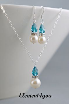 Bridesmaid jewelry set Necklace earrings Swarovski by Element4you, $32.00