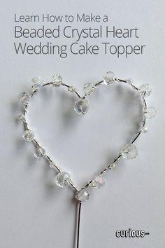 Beaded Crystal Heart Wedding Cake Topper