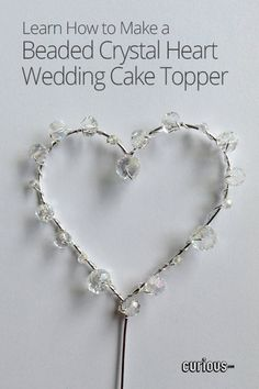Beaded Crystal Heart Wedding Cake Topper