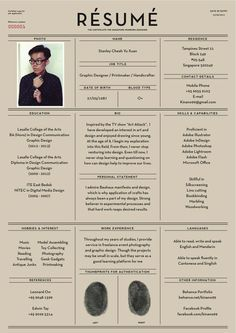 Creative & Stylized Resumes/CVs (film and graphic design industry)