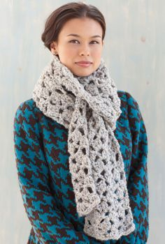 Free Crochet Pattern: Crochet Lacy Scarf from Lion Brand.  Skill Level: Easy