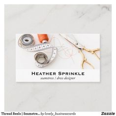Thread Reels | Seamstress Business Card Fabric Shears, Professional Business Cards, Smudging, Paper Texture, Things To Come, Prints, How To Make, Fashion Design