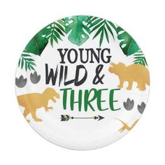 Shop Dinosaur Young Wild Three Birthday Party Plates created by FavoriteThingsDesign. 3 Year Old Birthday Party Boy, 3rd Birthday Party For Boy, Birthday Themes For Boys, Dinosaur Birthday Party, Birthday Party Decorations, Dinosaur Cake, Birthday Ideas, Elmo Party, Mickey Party