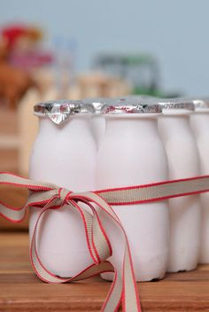 Buy the probiotic-enriched drinking yoghurts from Woolworths. They look just like tiny old-fashioned milk bottles. 2nd Birthday Parties, Boy Birthday, Yogurt, Starting Solids, Party Themes, Party Ideas, Milk Bottles, Farm Party, Party Planning