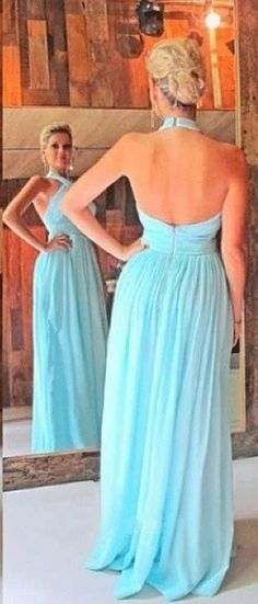US$134.79-Halter Style Criss Cross Bodice Pleated Blue Long Chiffon Prom Dress with Open Back.  http://www.doriswedding.com/a-line-princess-sleeveless-halter-chiffon-ruched-sweep-brush-train-dresses-p317995.html.  Free custom made service of any dress design & Free Shipping! Sequin prom dress, beaded prom dress, vintage prom dress 2016, two-pieces prom dress, satin prom dress, long prom dress, elegant prom dress, follow us to get more special offer! #DorisWedding.com