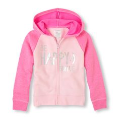 Girl's Long Sleeve Embellished Fleece Full-Zip Hoodie
