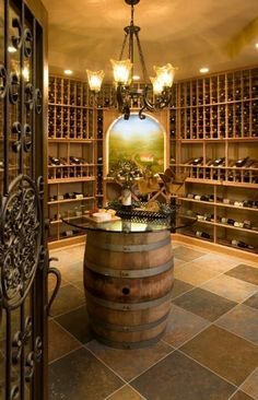 Wine Room Design | Wine Room Ideas - barrel table with glass top